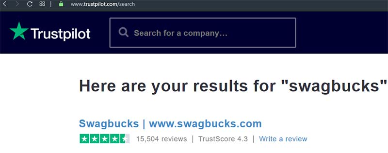 Is Swagbucks safe image of Trust Pilot